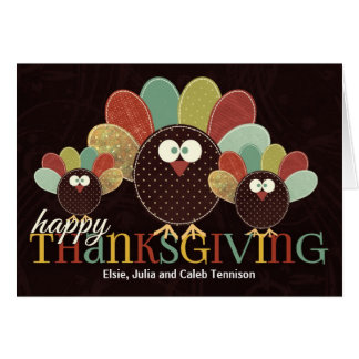 Patchwork Turkey Family for Thanksgivin Card