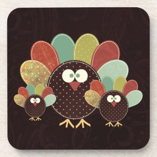 Patchwork Turkey Family of Three Thanksgiving Drink Coaster