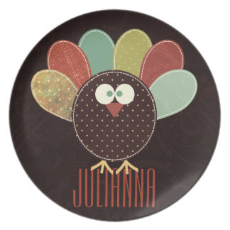 Patchwork Turkey With Custom Name Thanksgiving Melamine Plate