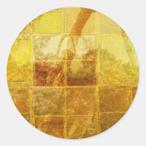 Patchwork Window Classic Round Sticker