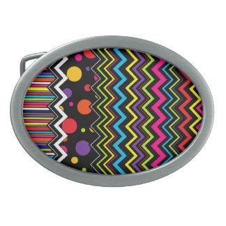 Patchwork Zig-Zag Stripe Dot Oval Belt Buckle