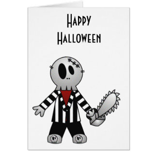 PATCHY CHAINSAW HALLOWEEN SKELETON GREETING CARDS
