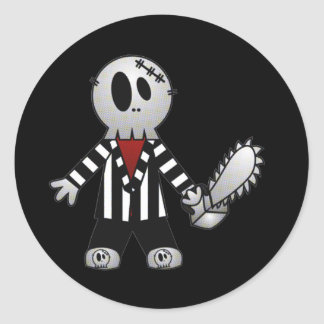 PATCHY CHAINSAW HALLOWEEN SKELETON CLASSIC ROUND STICKER
