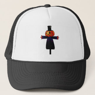 PATCHY PUMPKINHEAD SCARECROW W/ TOPHAT TRUCKER HAT