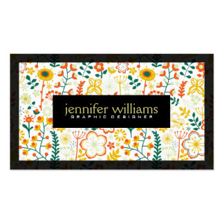 Patel Colorful Retro Flowers Black Accents Business Card