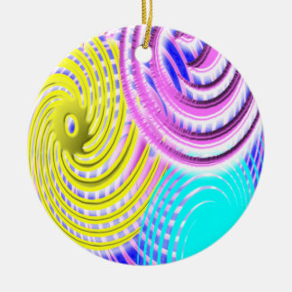 Patel Sprials Double-Sided Ceramic Round Christmas Ornament