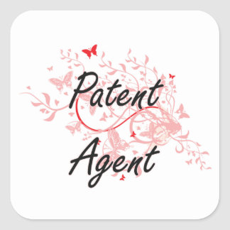 Patent Agent Artistic Job Design with Butterflies Square Sticker