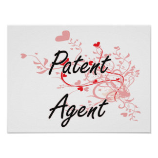Patent Agent Artistic Job Design with Hearts Poster