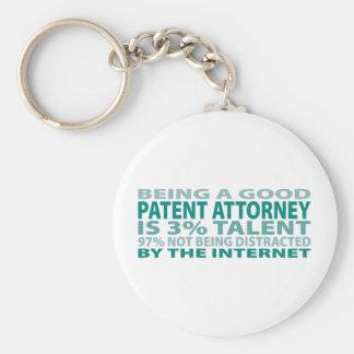 Patent Attorney 3% Talent Basic Round Button Keychain