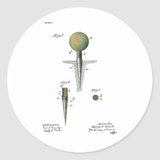 Patent Golf Ball on Tee Classic Round Sticker
