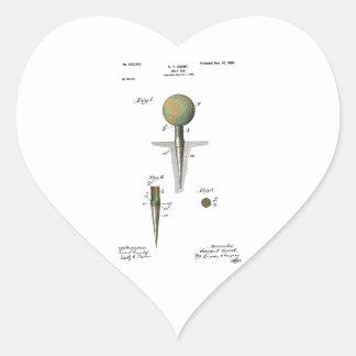 Patent Golf Ball on Tee Heart Sticker