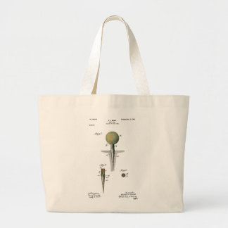 Patent Golf Ball on Tee Large Tote Bag