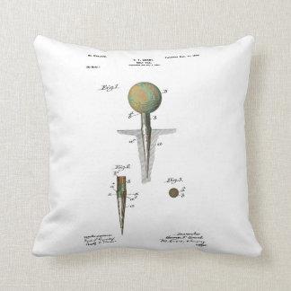 Patent Golf Ball on Tee Throw Pillow