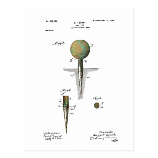 Patent Golf Ball on Tee Postcard