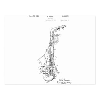 Patent saxophone design postcard