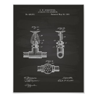 Patente automática de la regadera 1893 del fuego - póster