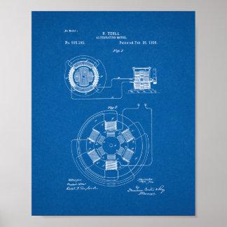 Patente de alternancia del motor de Tesla - modelo Póster