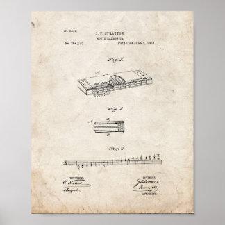 Patente de la armónica de la boca - vieja mirada posters