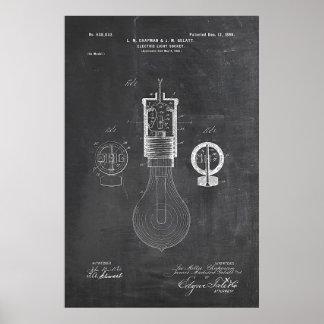 Patente de la bombilla de la pizarra póster