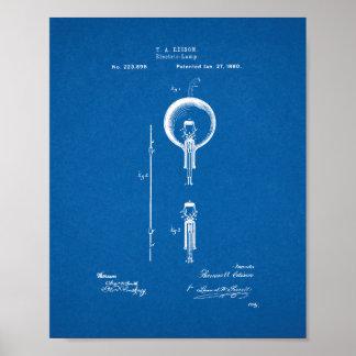 Patente de la bombilla de Thomas Edison - modelo Póster