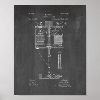 Patente de la lámpara del arco voltaico - pizarra póster