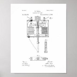 Patente de la lámpara del arco voltaico póster