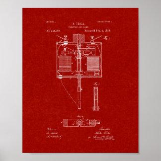 Patente de la lámpara del arco voltaico - rojo de póster