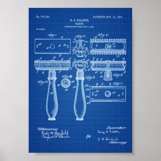 Patente de la maquinilla de afeitar - impresión de póster