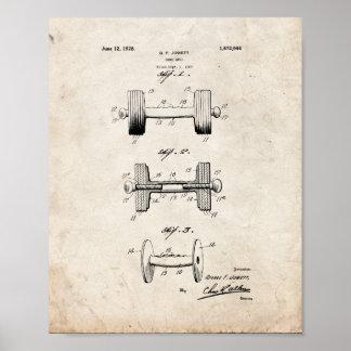 Patente de la pesa de gimnasia - vieja mirada poster