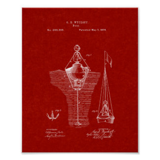 Patente de las boyas - rojo de Borgoña Impresiones
