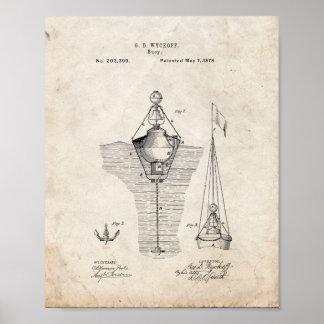 Patente de las boyas - vieja mirada impresiones