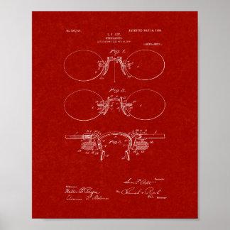 Patente de las lentes - rojo de Borgoña Posters