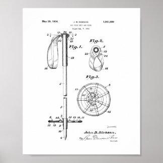 Patente del apretón y del anillo de poste de esquí póster