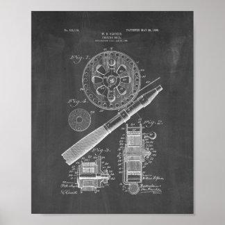 Patente del carrete de la pesca - pizarra póster