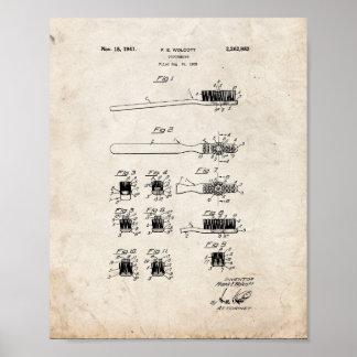 Patente del cepillo de dientes - vieja mirada póster