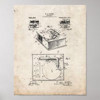 Patente del fonógrafo - vieja mirada posters