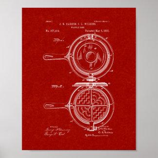 Patente del hierro de galleta - rojo de Borgoña Póster