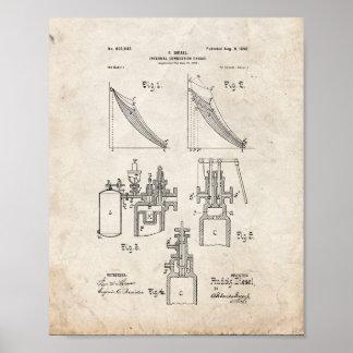 Patente del motor de combustión interna - vieja póster