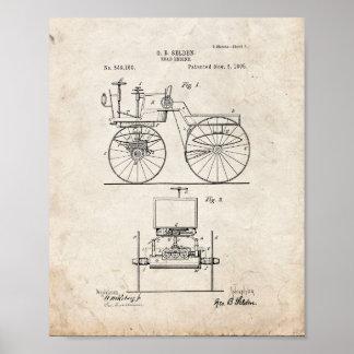 Patente del motor del camino - vieja mirada poster