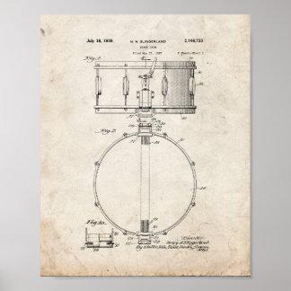 Patente del tambor - vieja mirada póster