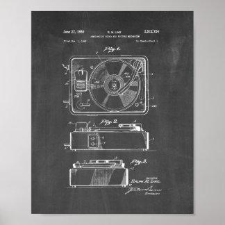 Patente del tocadiscos - pizarra póster