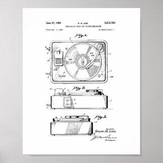 Patente del tocadiscos póster