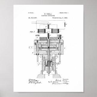Patente eléctrica del generador de Tesla Posters