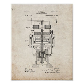 Patente eléctrica del generador de Tesla - vieja Póster