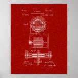 Patente electromágnetica del motor de Tesla - rojo Póster