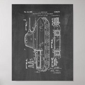 Patente militar aislada del tanque - pizarra póster