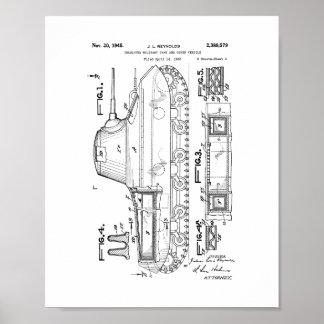 Patente militar aislada del tanque póster