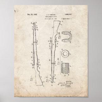 Patente semiautomática del rifle - vieja mirada póster