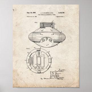 Patente sumergible automotora del buque - retrete posters