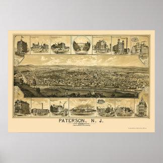 Paterson, mapa panorámico de NJ - 1880 Impresiones